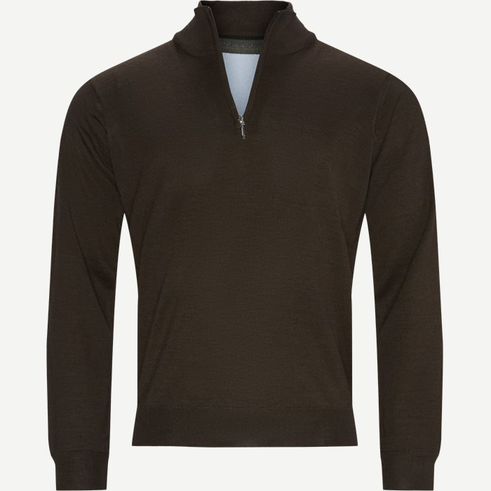 Panerea Half-Zip Striktrøje - Knitwear - Regular - Brown